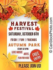 Harvest festival of autumn season poster template. Autumn...