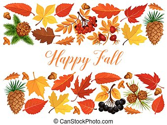 Happy fall banner with autumn leaf border - Happy fall...