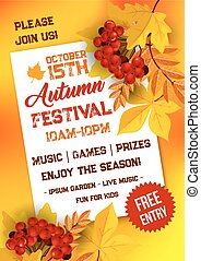 Autumn festival poster template with yellow leaves - Autumn...