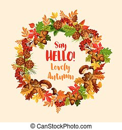 Autumn vector poster of maple leaf wreath