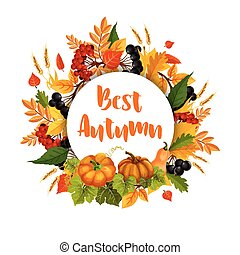 Autumn poster of leaf fall and pumpkin harvest - Autumn...