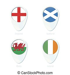 England, Scotland, Wales, Ireland flag location map pin icon.