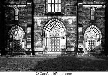 Gothic style entrance portal of Basilica of Saint Peter and...