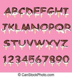 Ice cream alphabet isolated