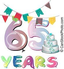 65th Anniversary celebration logo design. Vector...