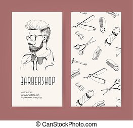 Barbershop flyer with barber tools and trendy man haircut. Monochrome vector illustration.