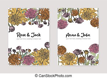 Wedding invitation with japanese chrysanthemum vertical card. Colorful vector illustration on white background.