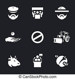 Vector Set of Agricultural sanctions Icons. - Agronomist,...