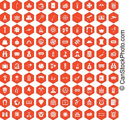 100 adult games icons hexagon orange - 100 adult games icons...