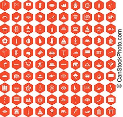 100 asian icons hexagon orange - 100 asian icons set in...