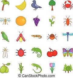 Vegetable kingdom icons set, cartoon style