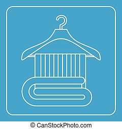 Towel on a wooden coat hanger icon outline
