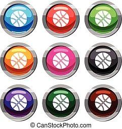 Basketball ball set 9 collection - Basketball ball set icon...