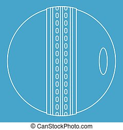 Cricket ball icon, outline style - Cricket ball icon blue...