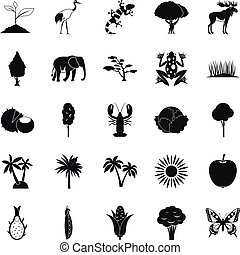 African wildlife icons set, simple style