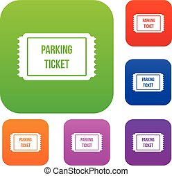 Parking ticket set collection - Parking ticket set icon in...