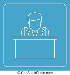 Orator speaking from tribune icon outline - Orator speaking...