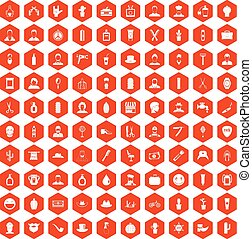 100 barber icons hexagon orange - 100 barber icons set in...
