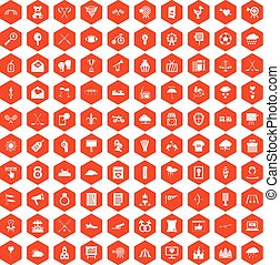 100 arrow icons hexagon orange - 100 arrow icons set in...