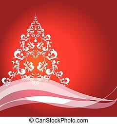 Christmas tree, red and white