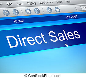 Direct sales concept. - 3d Illustration depicting a computer...