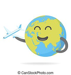 Cheerful Earth with plane