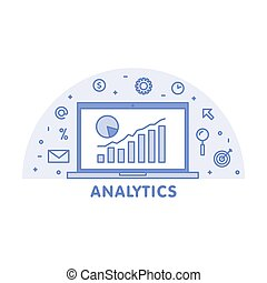 Online analytics concept line illustration. Laptop with web...