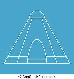 Tepee tent icon, outline style - Tepee tent icon blue...