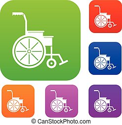 Wheelchair set collection - Wheelchair set icon in different...