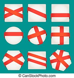 Sheet of paper with red ribbons. Vector set