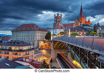 City of Lausanne. - Cityscape image of downtown Lausanne,...