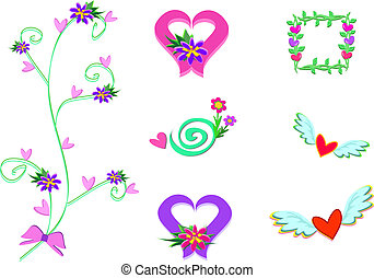 Mix of Hearts, Wings, and Plants