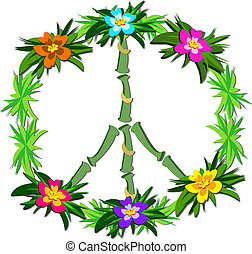 Tropical Peace Sign - Here is a colorful Peace Sign with...