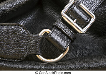 Black Leather Bag Close Up.