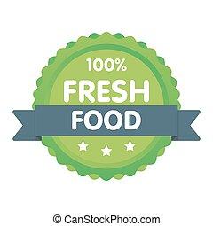 Modern green eco badge. 100 percent fresh food label....