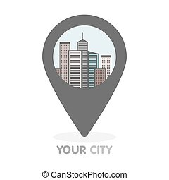 Modern city thin line illustration in pointer. Vector logo concept