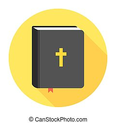Holy Bible book icon. Flat vector illustration.