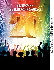 Twentieth anniversary - Colorful crowd of cheering people...