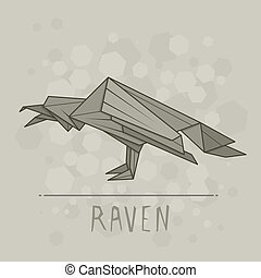 Vector illustration paper origami of raven. - Vector simple...