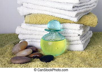 Blue bottle with massage oil