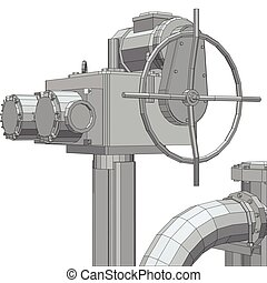 Industrial equipment electric valve. Wire-frame. EPS10 format. Vector rendering of 3d
