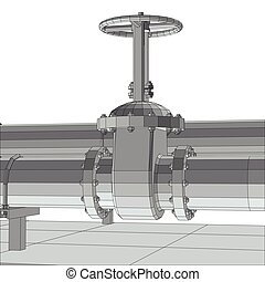 Industrial equipment valve. Wire-frame. EPS10 format. Vector rendering of 3d