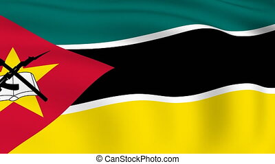 Flying Flag of MOZAMBIQUE | LOOPED |