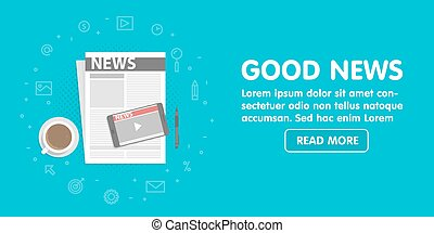 Newspaper and mobile phone with online video news on the screen, Coffee and pen. Tin line icons background. Business break concept vector illustration