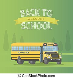 Vector yellow schoolbus isolated on green background. Back...
