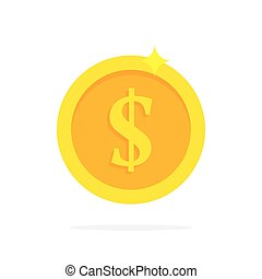 Gold coin in flat style. Vector illustration