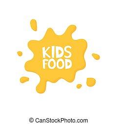 Kids food letters in juice splash. Vector illustration.
