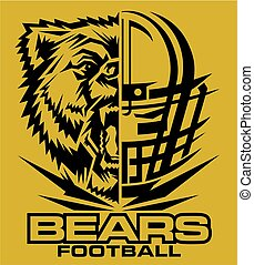 bears football team design with mascot and facemask for...