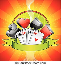 Gambling illustration with 3d casino symbols, cards and...