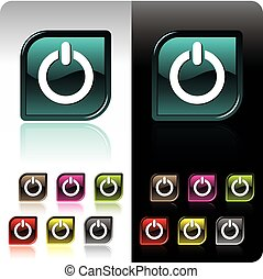 Shiny color button set with seven color variation